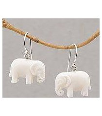 bone dangle earrings, 'white elephant' (indonesia)