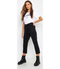 high rise raw hem straight leg jeans, black