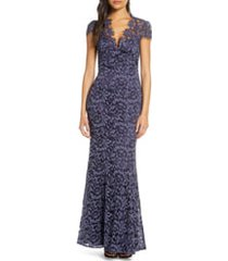 women's eliza j embroidered lace trumpet gown