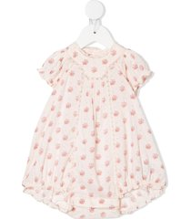 bonpoint lotti floral-print cotton romper - pink