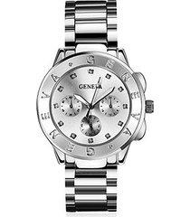 reloj de las mujeres de acero inoxidable de cuarzo - plata