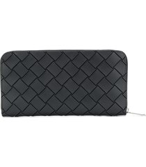 bottega veneta continental leather wallet - black