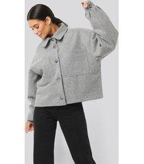 na-kd big sleeve oversized jacket - grey