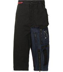 maison mihara yasuhiro hybrid drop crotch shorts - blue