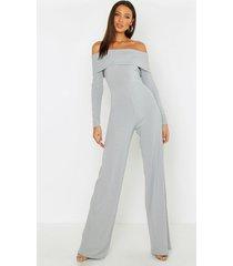 tall jumbo bardot wide leg jumpsuit, grey