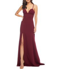women's dress the population alejandra crepe evening gown, size large - red