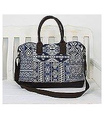 leather accent cotton blend handbag 'exotic adventure' (thailand)