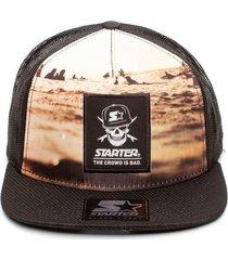 bonã© starter aba reta snapback trucker pirate skull colorido - multicolorido - masculino - dafiti