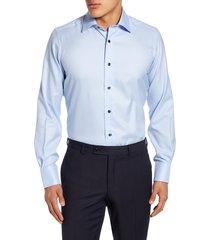 men's big & tall david donahue trim fit dress shirt, size 18.5 - 34/35 - blue