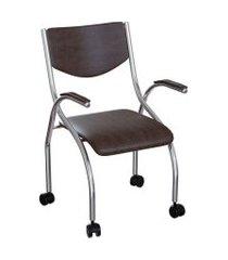 cadeira de escritório secretária colorado estofada cromada e tabaco