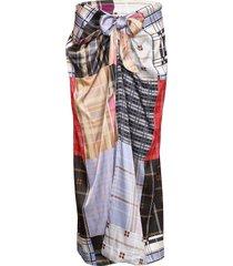 silk stretch satin lång kjol multi/mönstrad ganni