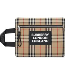 burberry logo detail vintage check portrait pouch - neutrals