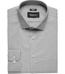 awearness kenneth cole men's charcoal gridded slim fit dress shirt - size: 17 1/2 32/33