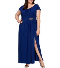 plus size women's alex evenings cowl neck beaded waist gown, size 24w - blue