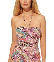 bleu by rod beattie bandeau printed tankini top women's swimsuit