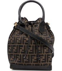 fendi pre-owned zucca drawstring two-way bag - brown