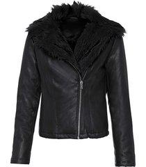 giacca biker con ecopelliccia (nero) - bodyflirt boutique