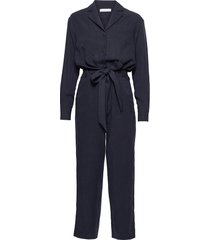 lapel collar jumpsuit ankle length jumpsuit blå ivy & oak