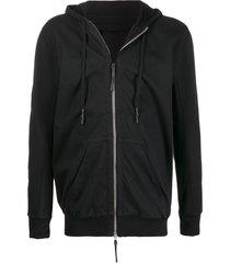 11 by boris bidjan saberi longline zipped-front hoodie - black