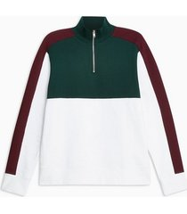 mens grey burgundy green and white half zip track top