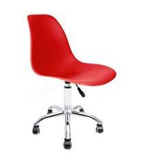 cadeira de escritório secretária eames cromada e vermelha