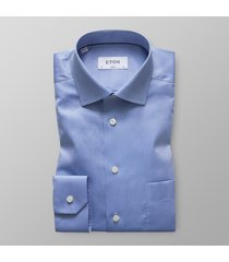 eton heren overhemd licht signature twill classic fit cutaway blauw