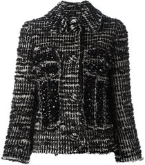 simone rocha beaded tweed fitted jacket - black
