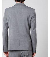 balmain men's stretch wool 6 button jacket - grey - it 50/l
