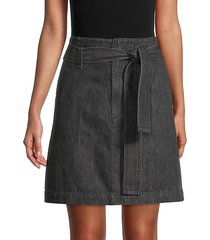 super high-rise belted darted denim skirt