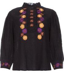 crepe blouse met bloemenborduursels july  zwart