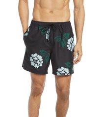 men's saturdays nyc timothy pixelated rose swim shorts, size large - black