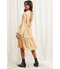 na-kd boho structured open back dress - beige