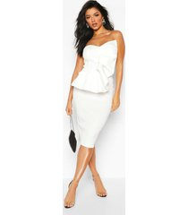 bandeau pleated bust bodycon midi dress, ivory