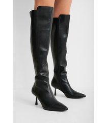 na-kd shoes lårhöga stövlar med frontsöm - black