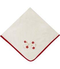 manta enxoval de malha padroeira baby flores vermelho