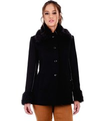 casaco rigotto 3/4 lã natural preto