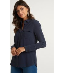 camisa le lis blanc lucia 6 netuno seda azul feminina (netuno 19-3924, 50)