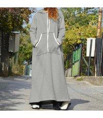 zanzea de mujeres longitud sudaderas casual vestido maxi largo sudadera camisa de vestir completa plus -gris claro