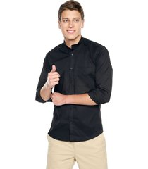 camisa los caballeros cuello neru manga larga negra media pechera interna en contraste