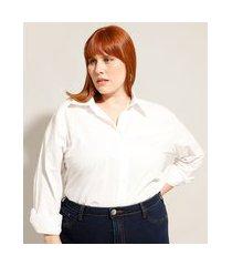 camisa alongada de algodão plus size manga longa off white