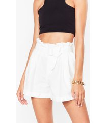 womens wanna be tie lover belted paperbag shorts - white