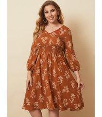 plus talla escote en v estampado floral sin espalda diseño para atar diseño midi vestido