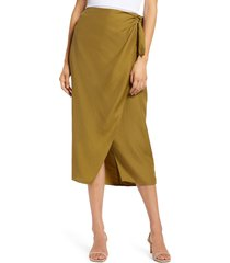 women's french connection gabina drape skirt, size 2 - green