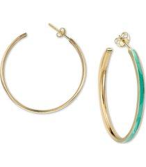 argento vivo enamel hoop earrings in 18k gold-plated sterling silver