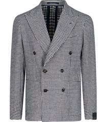 double-breasted hondstooth blazer