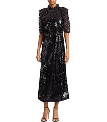 sequin lace-sleeve a-line dress