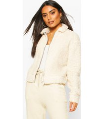 teddy faux fur zip through bomber jacket, ivory