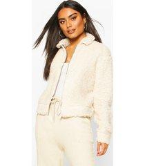 teddy faux fur zip through bomber jacket, ivory