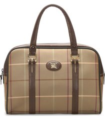 burberry pre-owned logo patch plaid tote bag - brown