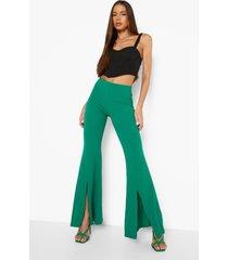 wijde getailleerde geweven broek met split, green